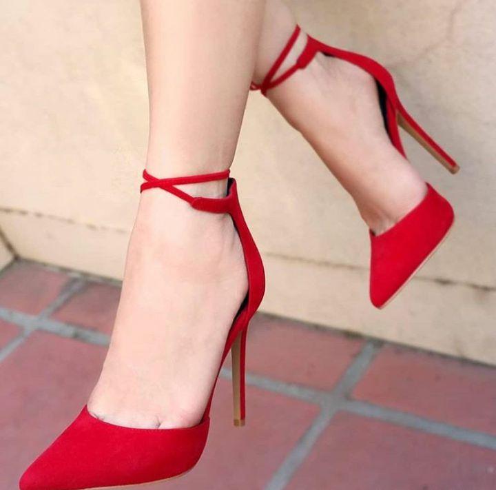 Sapato Scarpin Amarração Vermelho