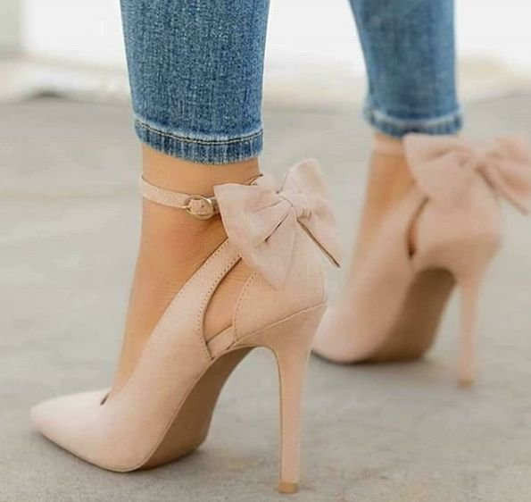 Sapato Scarpin Laço Nude Vanya