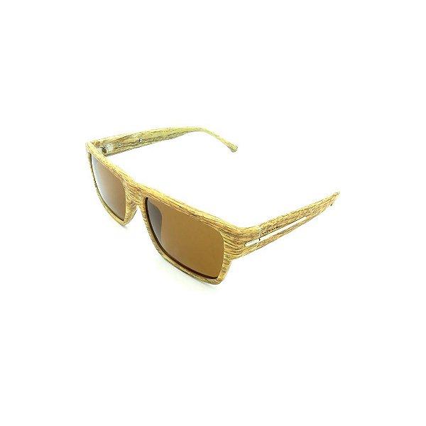 Óculos de Sol Prorider Retrô Detalhe de Bambu com Lente Fumê Marrom - 5119-59