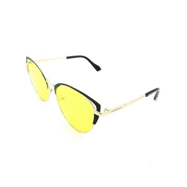 Óculos de Sol Prorider Dourado e Detalhes em Preto com Lente Fumê Amarela  - 17205-56