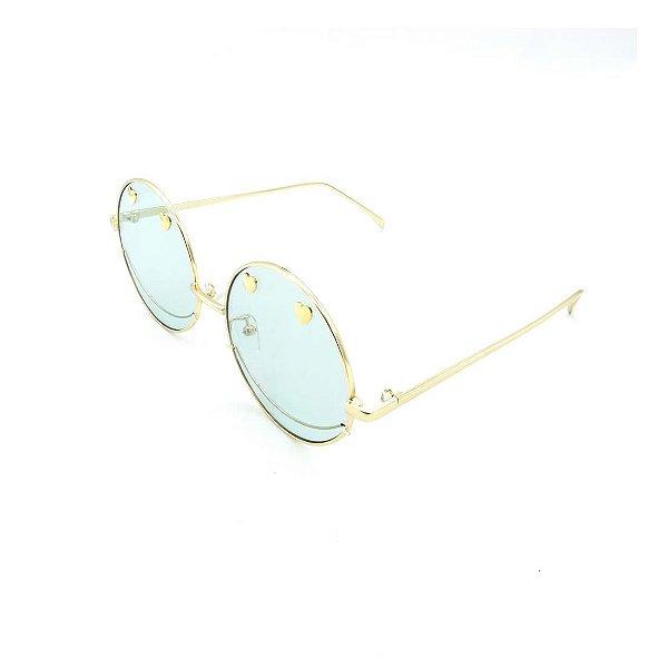 Óculos Solar Prorider Retrô Dourado Com Lente Fumê Azul - T3026C9