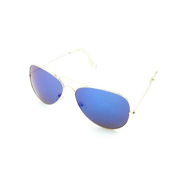 Óculos Solar Prorider Dourado Com Lente Espelhada Azul - T3026C10