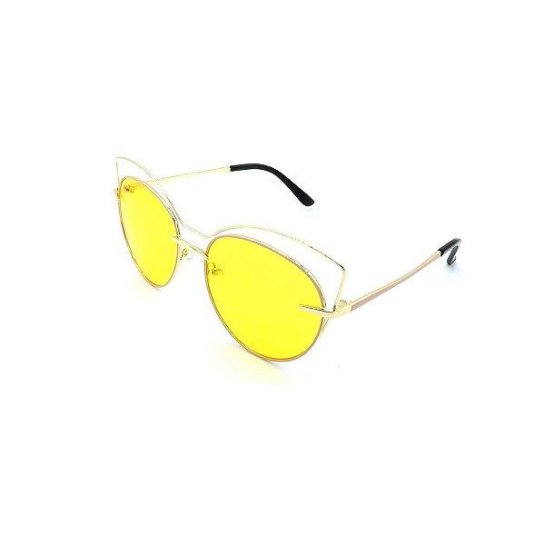 Óculos de Sol Prorider Dourado Transparente em Preto com Lente Fumê Amarela  - 16553-60