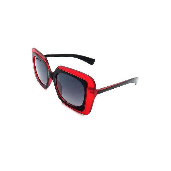 Óculos Solar Prorider Retrô Vermelho e Preto Com Lente Degradê Fumê - S3738-51