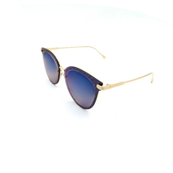 Óculos Solar Prorider Dourado e Preto Detalhado Com Lente Degradê Azul - B88-404