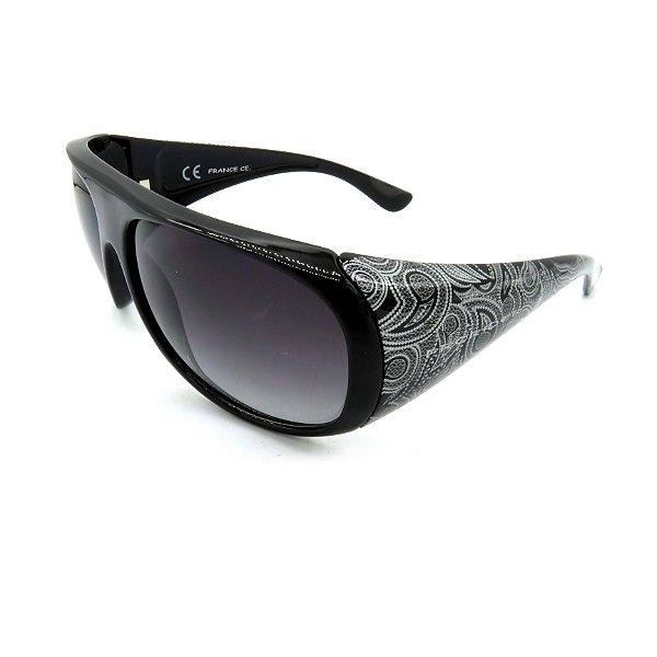 Óculos de Sol Prorider Retrô Preto Detalhado com Lente Degradê Fumê - D2789-C2