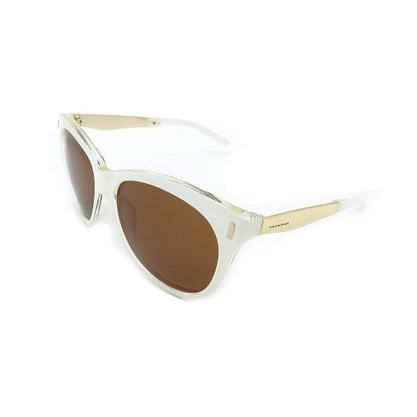 Óculos de Sol Prorider Branco, Transparente e Dourado Com Lente Fumê Marrom -  HF0001