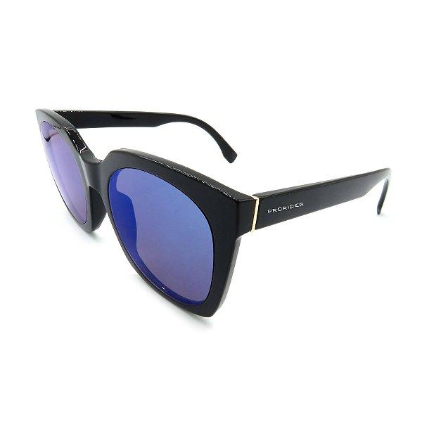 Óculos Solar Prorider Preto e Dourado Com Lente Espelhada Azul - B88-1367C1