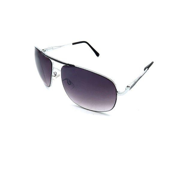 Óculos Solar Prorider Prata Detalhado Com Lente Degradê Fumê  - B88-83