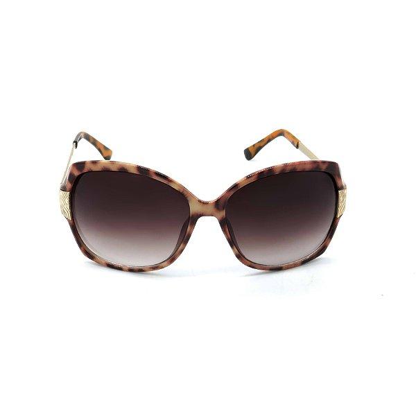 Óculos de Sol Prorider Retrô Animal Print e Dourado com Lente Degradê Fumê - SRP278S