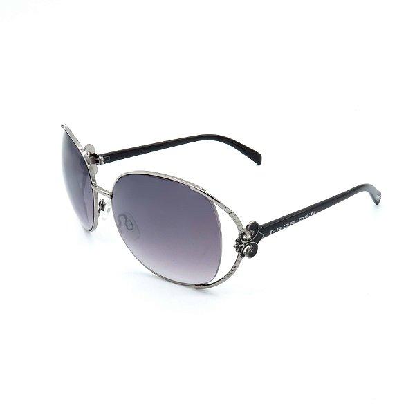 Óculos Solar Prorider Retrô Prata Detalhado Com Lente Degradê Fumê  - B88-51