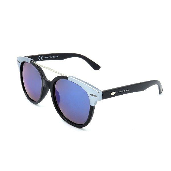 Óculos De Sol Prorider Retrô Preto e Detalhe Cinza com Lente Espelhada Colorida - YD1706-C3