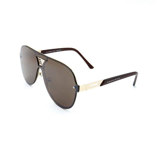 Óculos De Sol Prorider Retrô Dourado com Lente Fumê Marrom - H01446-C6