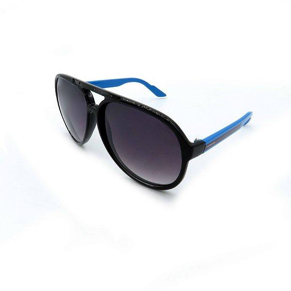 Óculos De Sol Prorider Retrô Preto e Azul com Lente Degradê Fumê - B88-1012