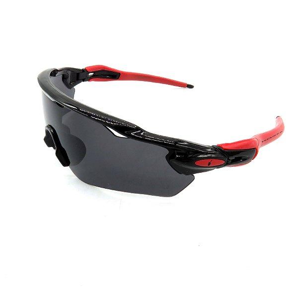 Óculos de Sol Prorider Esportivo preto e vermelho com Lente fumê - tr453