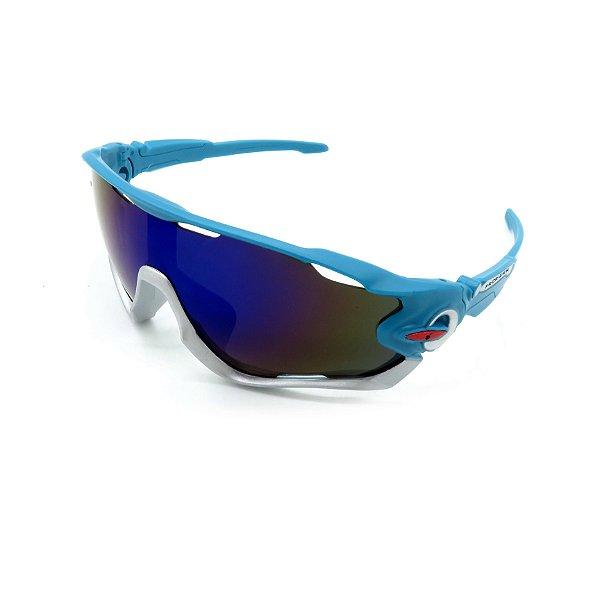 Óculos de Sol Prorider Esportivo azul e branco com Lente fumê - gd7514