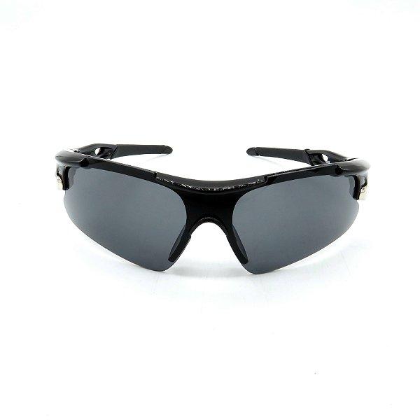 Óculos de Sol Prorider Esportivo Preto e Prata com Lente fumê - 9210