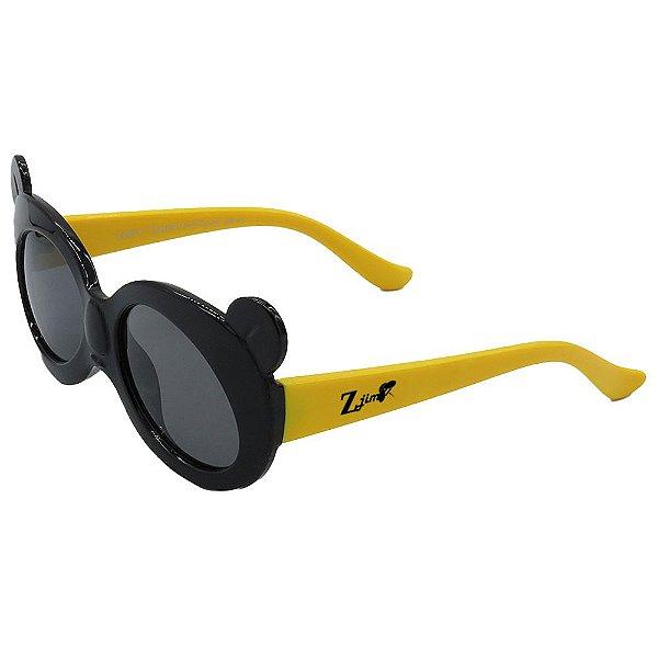 Óculos de Sol Infantil ZJim Silicone Redondo Preto e Amarelo