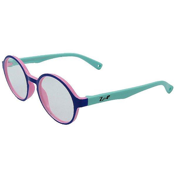 Óculos Para Grau Infantil ZJim Silicone Redondo Roxo e Verde