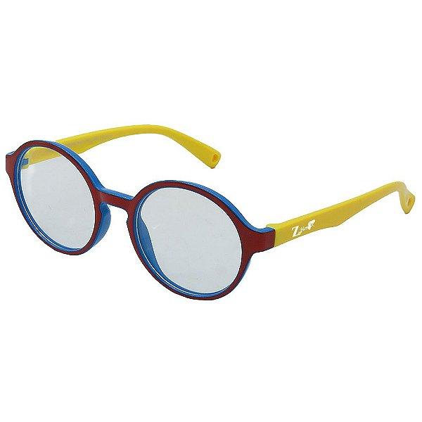 Óculos Para Grau Infantil ZJim Silicone Redondo Vermelho e Amarelo