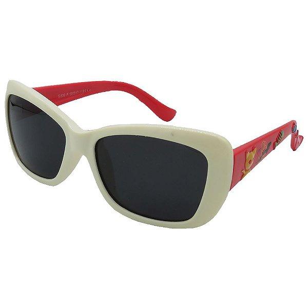 Óculos de Sol Infantil Zjim Silicone Quadrado Branco e Vermelho