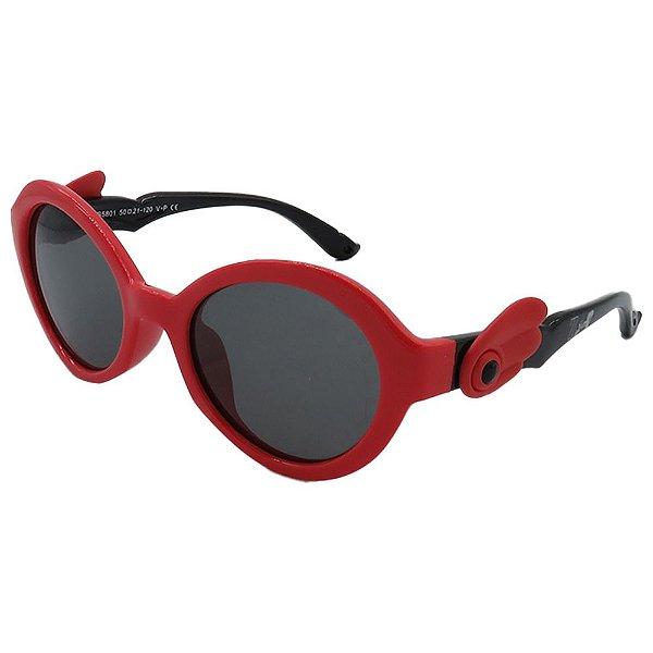 Óculos de Sol Infantil Zjim Silicone Redondo Vermelho e Preto