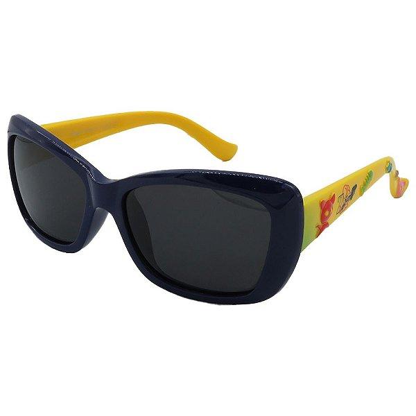 Óculos de Sol Infantil Zjim Silicone Quadrado Preto e Amarelo