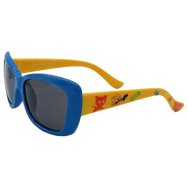 Óculos Infantil Zjim Silicone Quadrado Azul e Amarelo