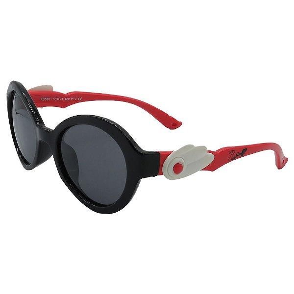 Óculos Infantil Zjim Silicone Arredondado Preto e Vermelho