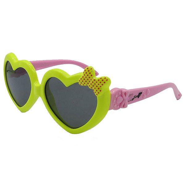 Óculos Infantil Zjim Silicone Coração Verde e Amarelo