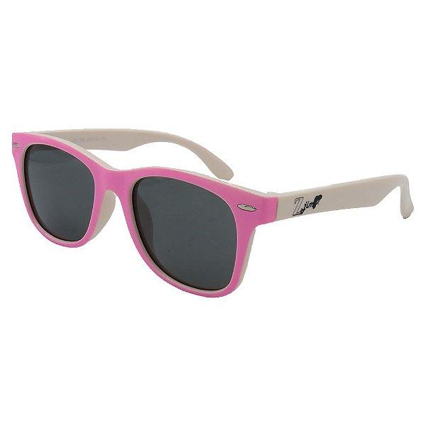 Óculos Infantil Zjim Silicone Quadrado Rosa e Branco