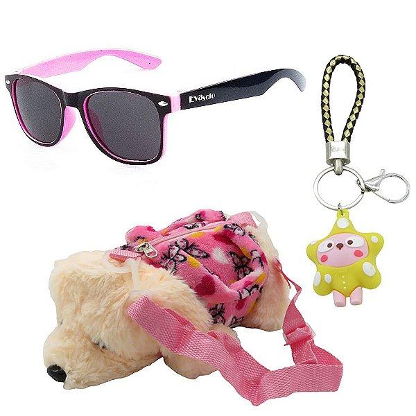 Kit Infantil Óculos de Sol EvaSolo Rosa e Preto Com Mochila e Chaveiro