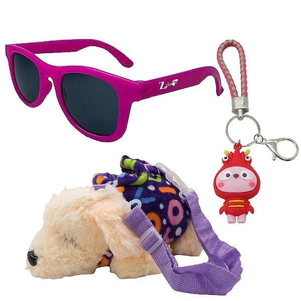 Kit Infantil Óculos de Sol Zjim Roxo Com Mochila e Chaveiro
