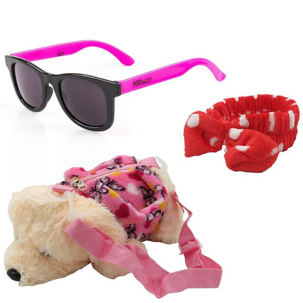Kit Infantil Óculos de Sol RedHot Rosa e Preto Com Mochila e Laço