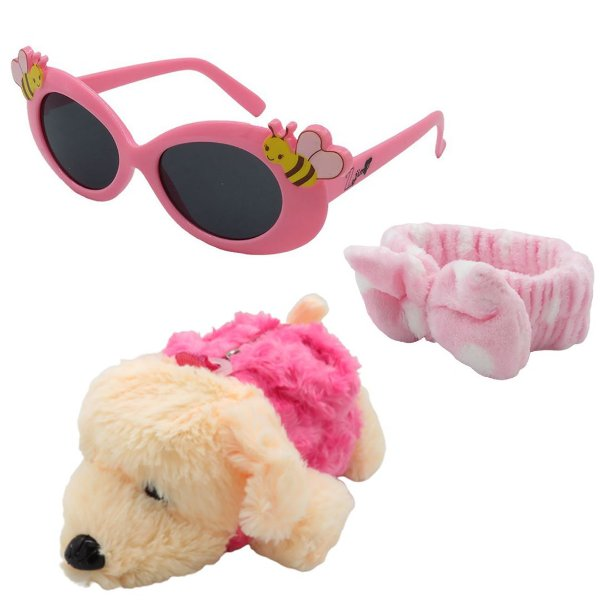 Kit Infantil Óculos de Sol Zjim Rosa Com Mochila e Laço