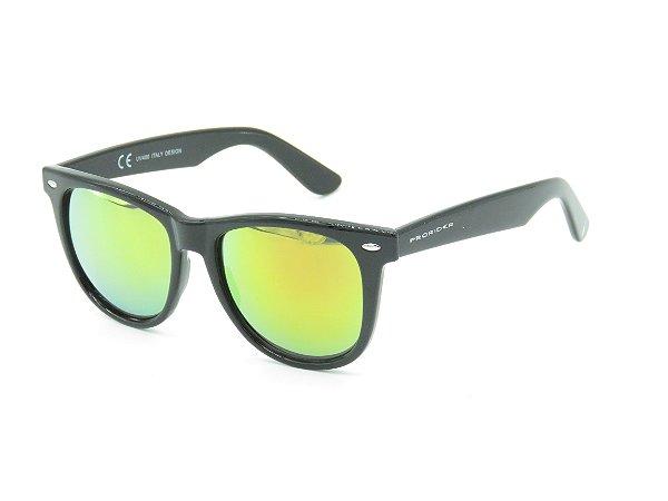 Óculos de Sol Prorider Preto Fosco com Lente Espelhada Amarela - 3964