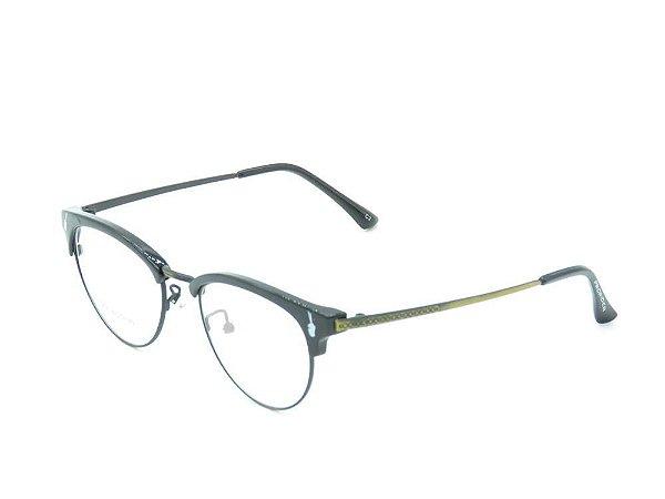 Óculos Receituário Preto Fosco com Dourado - 2735