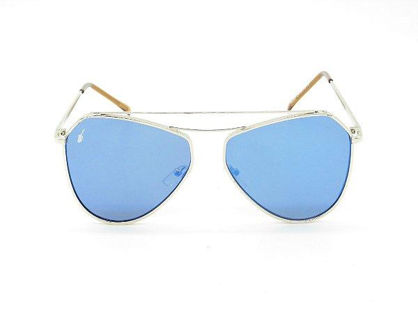 Óculos solar Prorider prata com lente azul 5226
