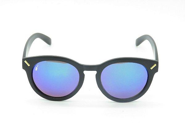 Óculos de Sol Preto Fosco com Lente Espelhada Colors - 5258