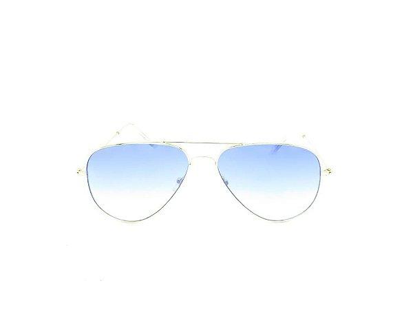 Óculos solar Evasolo dourado com lente degrade azul H03026