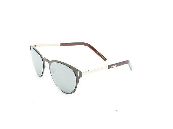 Óculos de Sol Evasolo Dourado com Lente Espelhada Prata - RC17001C4