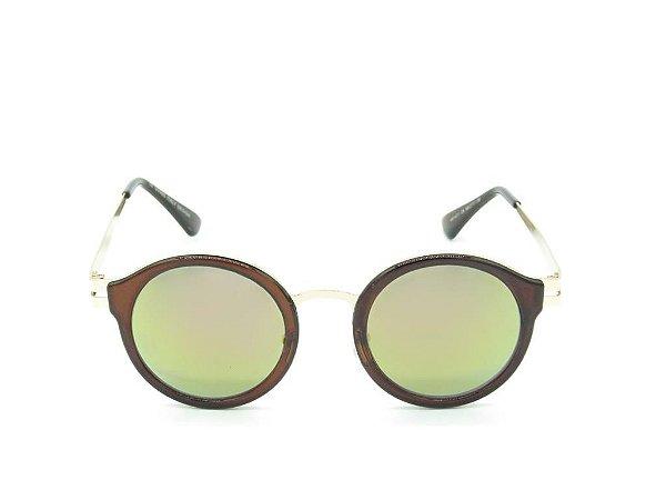 Óculos de Sol Paul Ryan Marrom com Dourado e Lente Espelhada - H01471C6