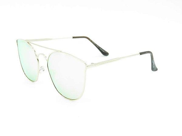 Óculos de Sol Paul Ryan Prata com Lente Espelhada - H01634C2