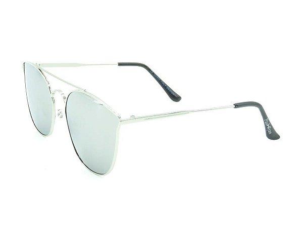 Óculos de Sol Paul Ryan Prata com Lente Espelhada - H01634C6