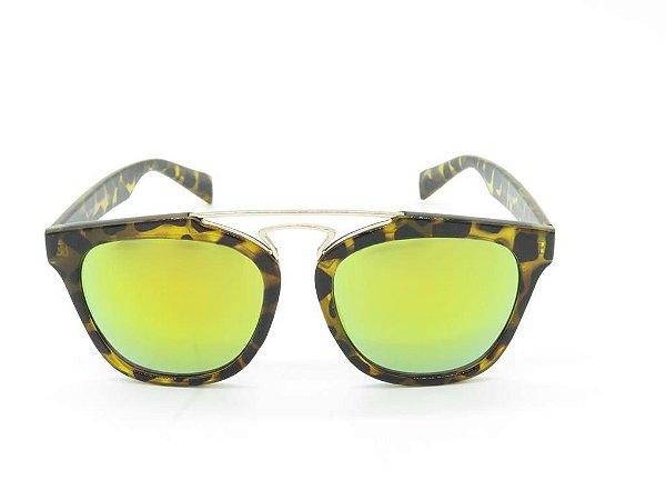 Óculos solar Paul Ryan Animal Print Translúcido com Lente Espelhada - KL2006C6