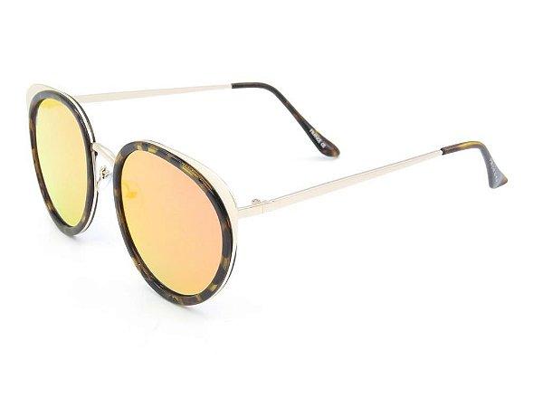 Óculos solar Prorider dourado com detalhe em tartaruga lente gradiente  H01473C8