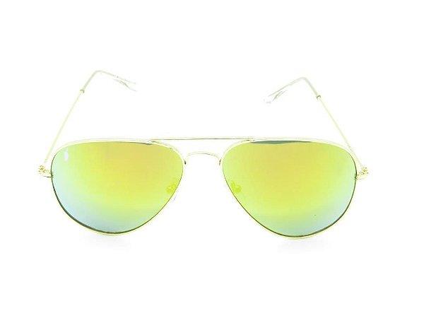 Óculos solar Prorider dourado aviador com lente gradiente azul e amarelo H03026-1