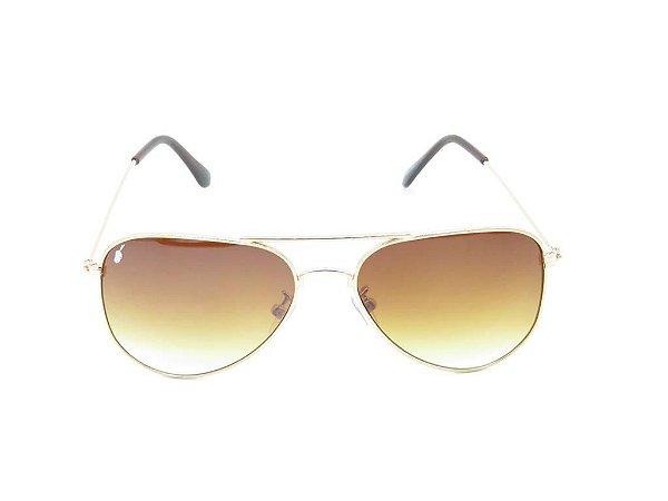 Óculos solar Prorider aviador dourado e preto com lente degradê SKANTZOURA