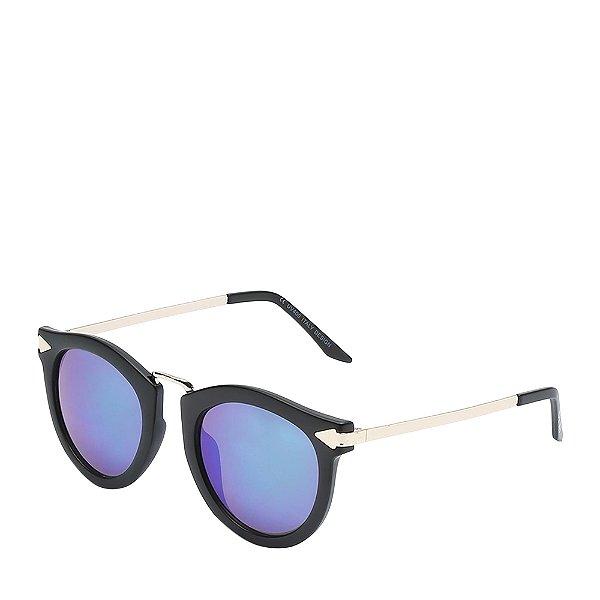 Óculos de Sol OTTO - Redondo Preto Fosco e Dourado com Lente Espelhada