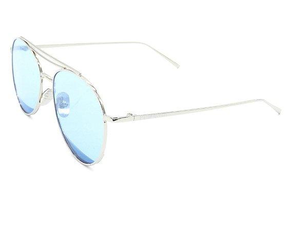 Óculos de Sol Paul Ryan Prata com Lente Azul - KEVIN